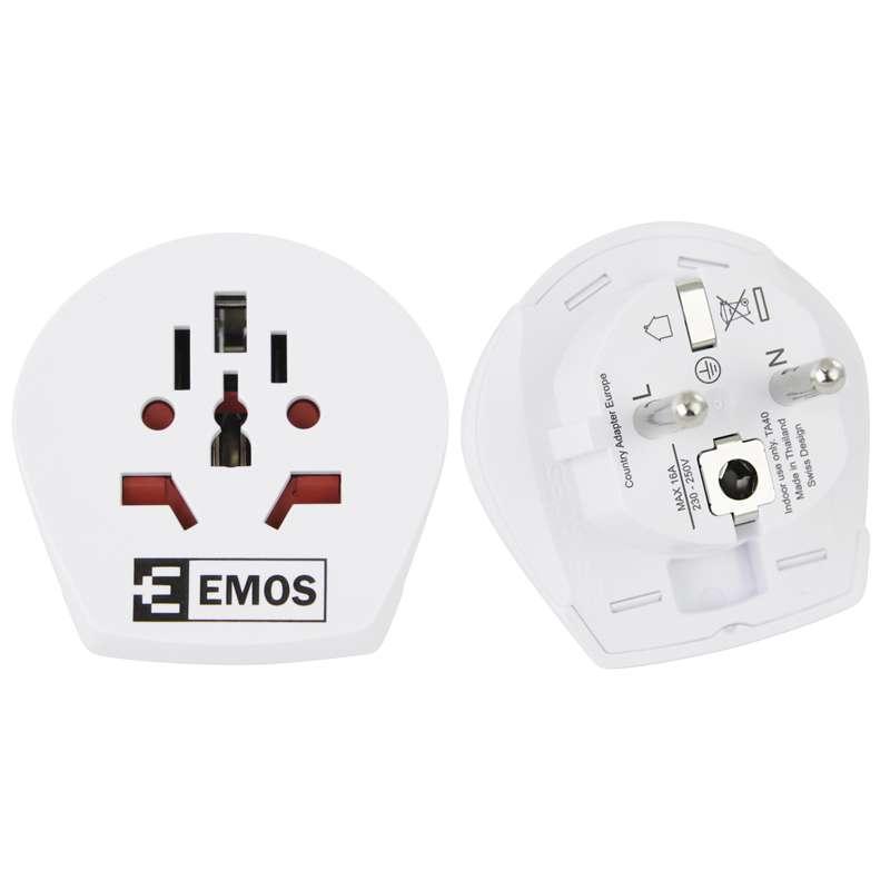 Emos Cestovní adaptér pro cizince, bílý P0055