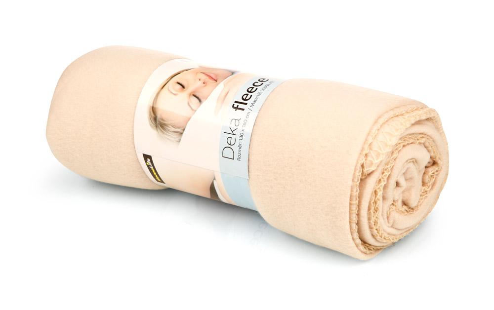 HomeLife Fleecová deka 130x160 cm béžová