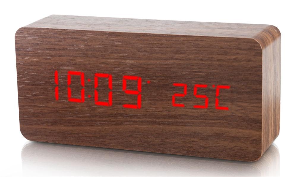 Platinium Dřevěný digitální LED budík WAC-020
