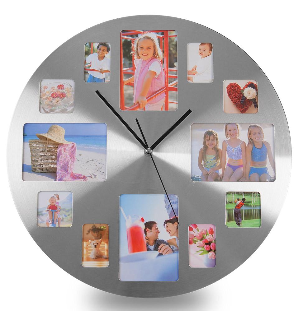Platinium Nástěnné hodiny s fotorámečky kruhové
