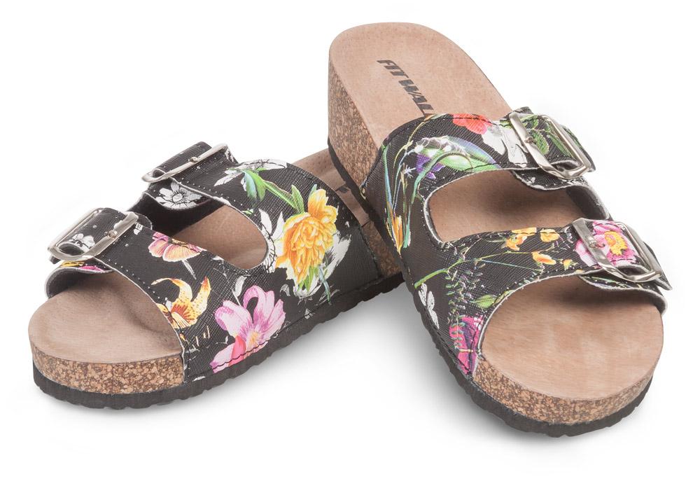 Fit Walk Dámské korkové pantofle květiny