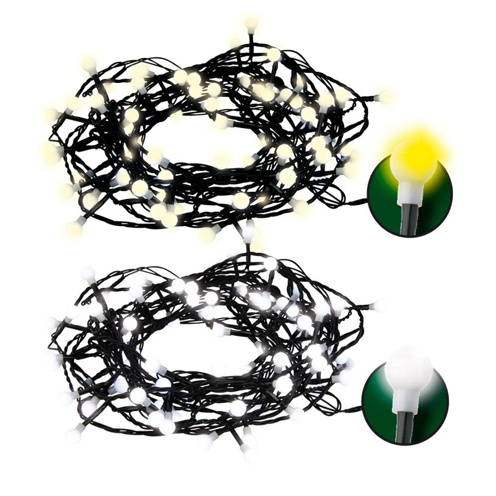 LED vánoční světelný řetěz, kuličky bílá