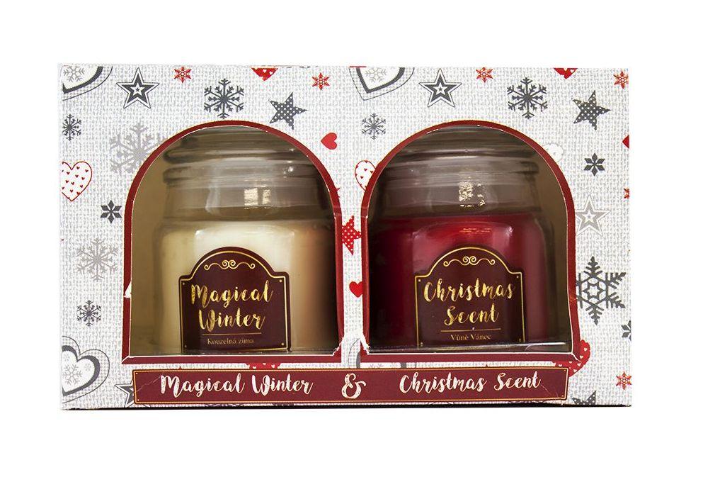 Arôme Vánoční vonná svíčka Magical Winter + Christmas Scent, 2 x 85 g