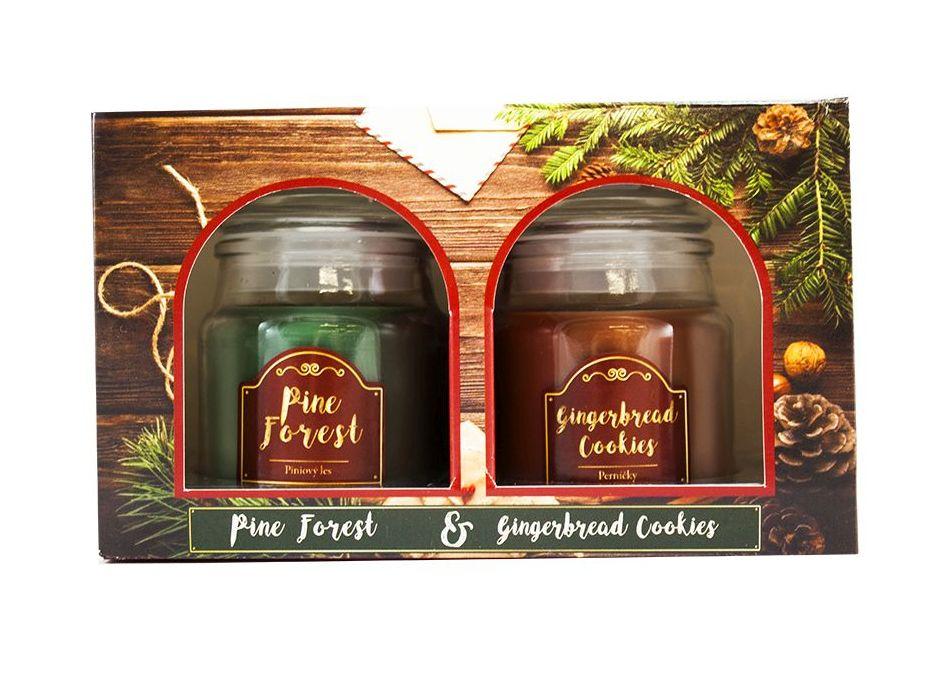 Arôme Vánoční vonná svíčka Pine Forest + Gingerbread Cookies, 2 x 85 g