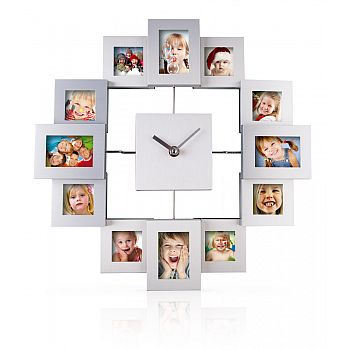 Platinium Nástěnné hodiny s fotorámečky hranaté
