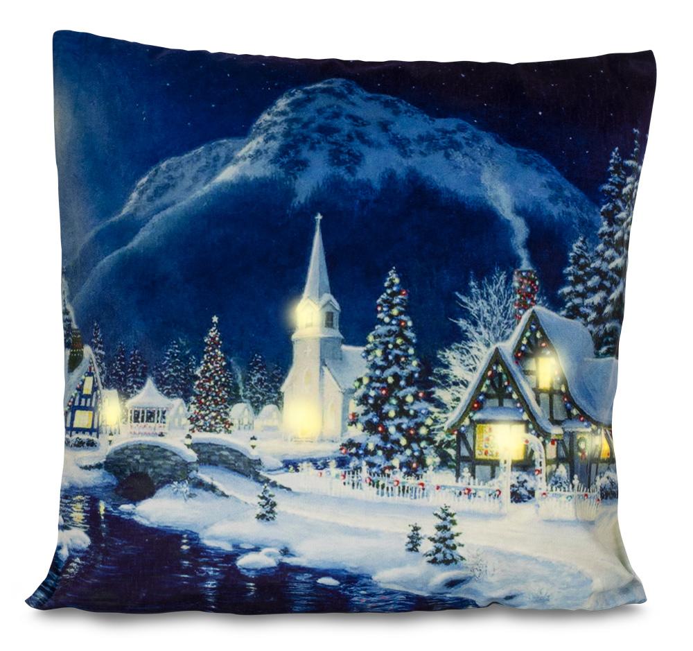 HomeLife LED svítící povlak na polštář Zimní vesnička 40 x 40 cm
